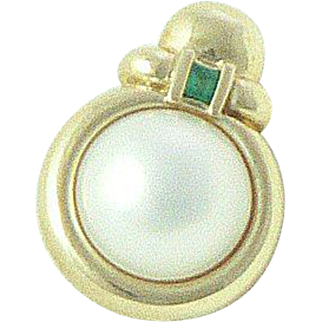 14K Gold Mabe Pearl Emerald Enhancer