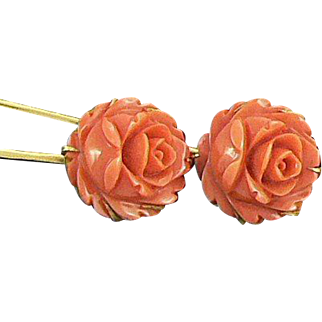 Pair of Coral Stick Pins 22K Gold Roses