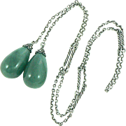 Lariat Necklace Aventurine and Sterling Silver