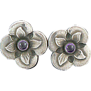 Georg Jensen Denmark Sterling Silver Earrings Amethysts 109B