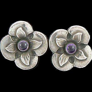 Georg Jensen Denmark Sterling Silver Earrings Amethysts 109B