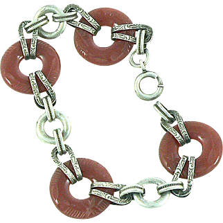 Art Deco Sterling Silver Carved Etched Carnelian Bracelet