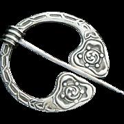 Celtic Penannular Brooch Kilt or Cloak Pin Sterling Silver Edinburgh 1958 Robert Allison