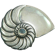 Carl Ruopoli Sterling Silver Nautilus Pin with Moonstone