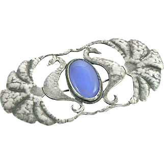 Arts and Crafts Silver Chalcedony Seahorse Brooch