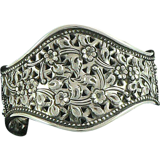 Elaborate Floral and Vine Cuff Bracelet 875 Silver