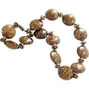 Amazing Venetian Glass Flat Disc Bead Necklace