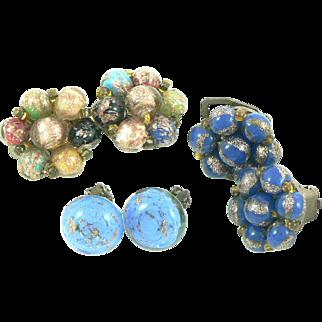 Venetian Glass Bead Earrings Three Pairs