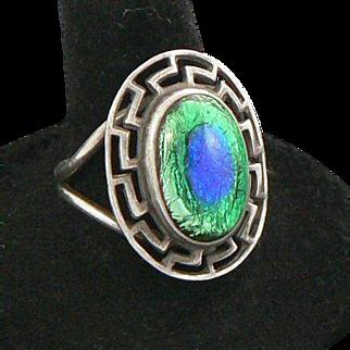 Peacock Eye Greek Key Sterling Silver Ring Arts & Crafts