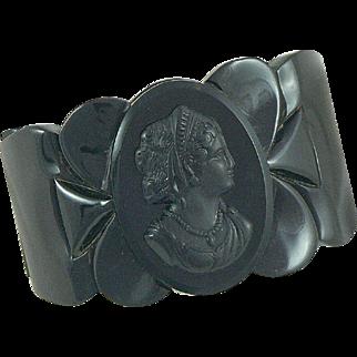 Black Bakelite Cameo Clamper Bracelet