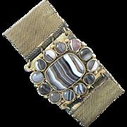 Victorian Banded Agate Mesh Bracelet