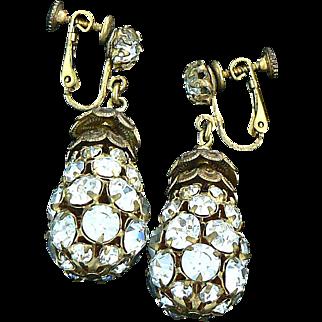 Miriam Haskell Rhinestone Teardrop Earrings Dangles