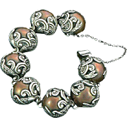 Famous Los Castillo Fish in Waves Bracelet Sterling Silver Copper Mixed Metal: Mexico