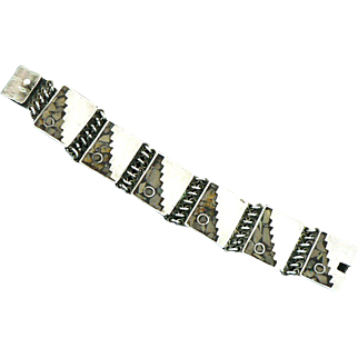 Unusual Mexican Mosaic Link Bracelet Sterling Silver Signed