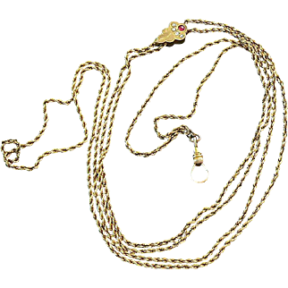 Watch Chain Gold Filled Long Signed with Seed Pearls and Ruby