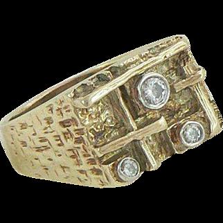 Men's 14K Gold Diamonds Heavy Ring