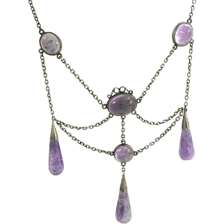 Victorian Amethyst Silver Festoon Necklace