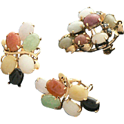 Jade 14K Gold Earrings and Pendant or Pin Set Multicolored Spinels
