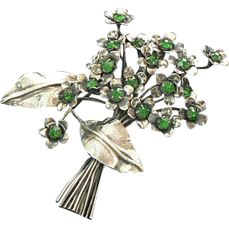 Sandor Sterling Silver Retro Era Green Rhinestone Pin