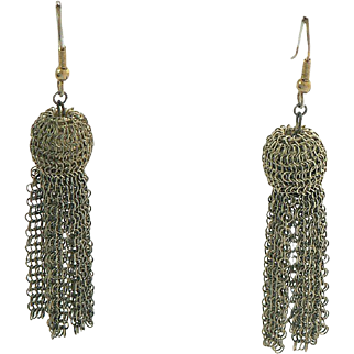 Tassel Earrings Gold Tone Fine Wire Mesh