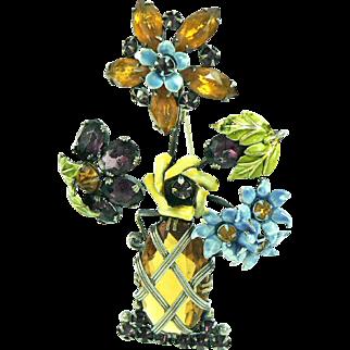 Sandor Dramatic Flower Basket Pin Sterling Crystal Enamel Retro 1940s