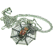 Pretty Spider Web Pendant Necklace with Amber Body Spider