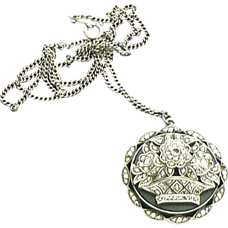 Marcasite and Onyx Flower Basket Sterling Silver Pendant Necklace