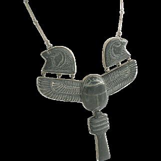 Egyptian Hieroglyph Lebanese Necklace 800 Silver Steatite