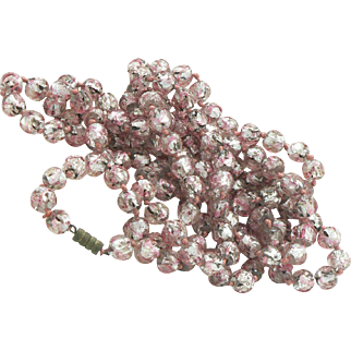 Pink Venetian Glass Beads Long Knotted Strand