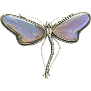 Victorian Dragonfly Butterfly Wing Silver Pin