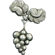 Georg Jensen Denmark Sterling Silver Grape Brooch
