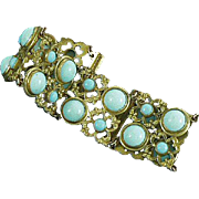 Turquoise Glass and Brass Bracelet