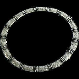 Hammered Collar Necklace Sterling Silver Modernist