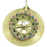 14K Gold Wheel of Fortune Large Movable Charm Rubies Sapphires Pearl