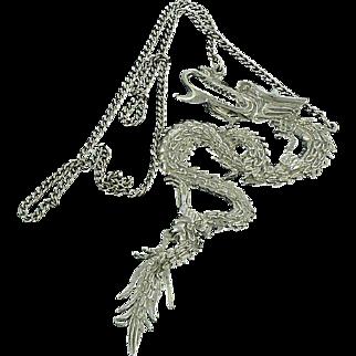 Mega Dragon Sterling Necklace