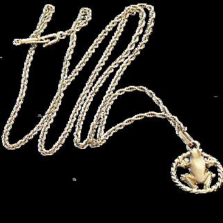 "14K Gold Frog Charm Pendant 24"" Chain"