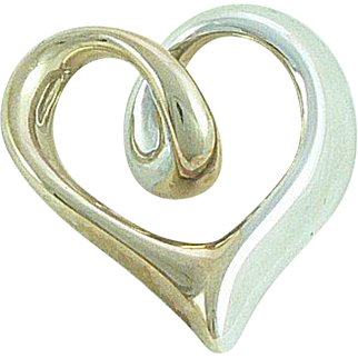 14K Gold Heart Enhancer Two Toned White and Yellow