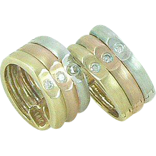 14K Gold Huggie Earrings Tri-Colored with Diamonds