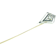 Stick Pin 18K and 14K White Gold with Diamond and Enamel