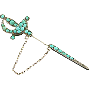 Turquoise Jabot Silver Sword Pin Victorian