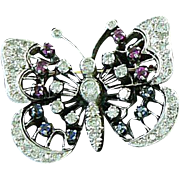 Butterfly Pendant 14K Gold Diamonds, Rubies, Sapphires