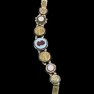 Victorian Gold Filled Button Slide Bracelet