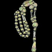 Art Deco Lampwork Bead Sautoir Satin Glass Necklace