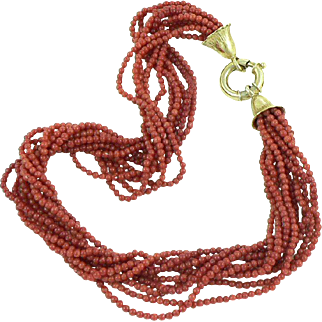 Coral 10-Strand Torsade Necklace with Giant Clasp
