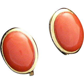 18K Gold Coral Earrings Italy