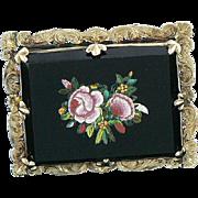 Victorian 14K Gold Micro Mosaic Onyx Brooch