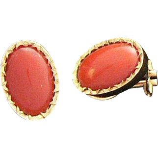 18K Gold Red Coral Earrings Clip Back