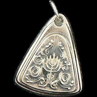Henryk Winograd Candelabra Pendant Charm .999 Silver Menorah Judaica