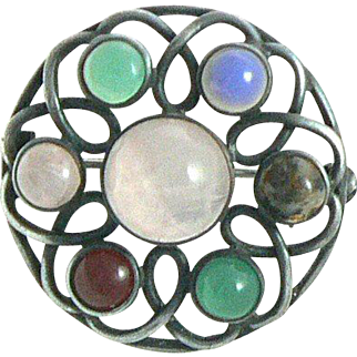 Arts and Crafts Silver Brooch with Rose Quartz, Carnelian, Chrysoprase, Chalcedony and Jasper