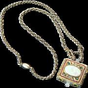 White Jade Ingot Necklace Emeralds Rubies Opal Diamonds Gold Carved Chrysanthemum Design